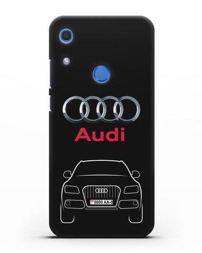 Чехол Audi Q5 с номерным знаком силикон черный для Huawei Y6s