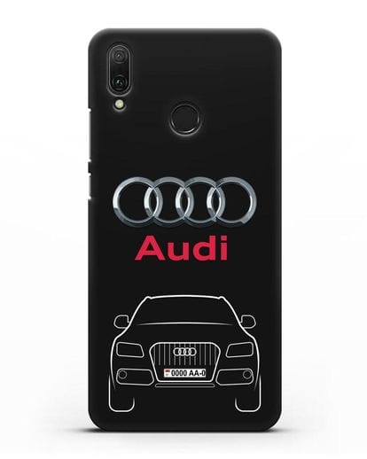 Чехол Audi Q5 с номерным знаком силикон черный для Huawei Y9 2019