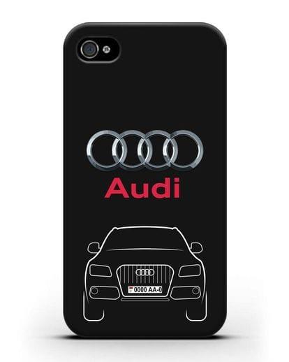 Чехол Audi Q5 с номерным знаком силикон черный для iPhone 4/4s