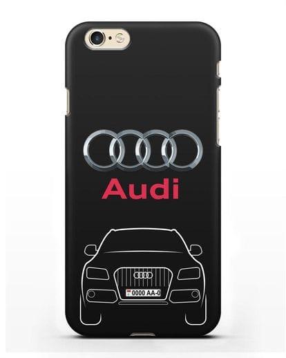 Чехол Audi Q5 с номерным знаком силикон черный для iPhone 6s