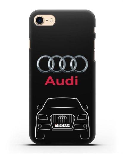 Чехол Audi Q5 с номерным знаком силикон черный для iPhone 7