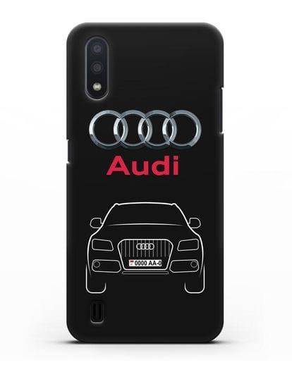 Чехол Audi Q5 с номерным знаком силикон черный для Samsung Galaxy A01 [SM-A015F]
