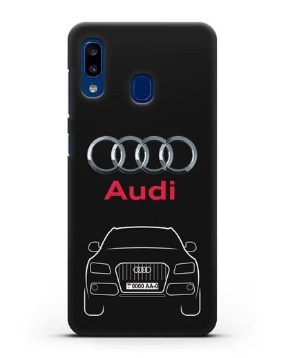 Чехол Audi Q5 с номерным знаком силикон черный для Samsung Galaxy A20 [SM-A205FN]
