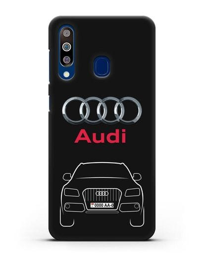 Чехол Audi Q5 с номерным знаком силикон черный для Samsung Galaxy A60 [SM-A606F]