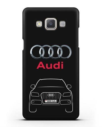 Чехол Audi Q5 с номерным знаком силикон черный для Samsung Galaxy A7 2015 [SM-A700F]
