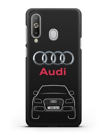 Чехол Audi Q5 с номерным знаком силикон черный для Samsung Galaxy A8s [SM-G8870]