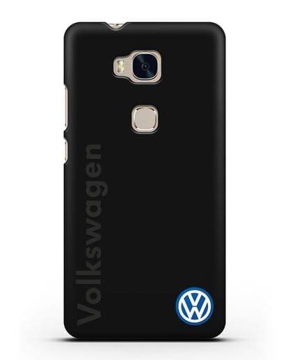 Чехол с надписью Volkswagen и логотипом силикон черный для Honor 5X