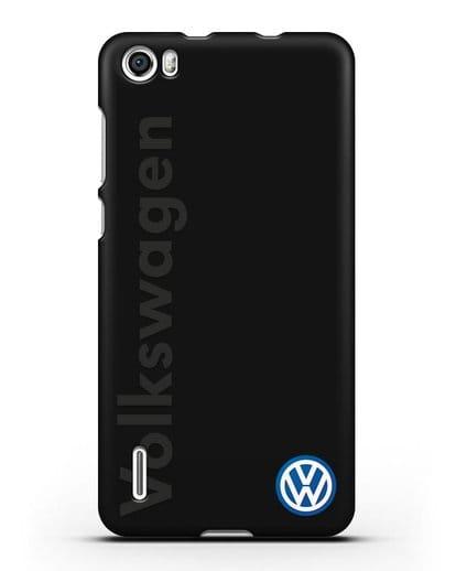 Чехол с надписью Volkswagen и логотипом силикон черный для Honor 6