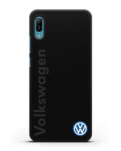 Чехол с надписью Volkswagen и логотипом силикон черный для Huawei Y6 2019