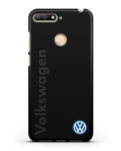 Чехол с надписью Volkswagen и логотипом силикон черный для Huawei Y6 Prime 2018