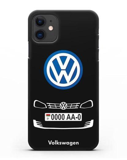 Чехол Фольксваген с номерным знаком силикон черный для iPhone 11
