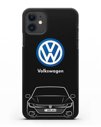 Чехол Volkswagen Passat с автомобильным номером силикон черный для iPhone 11