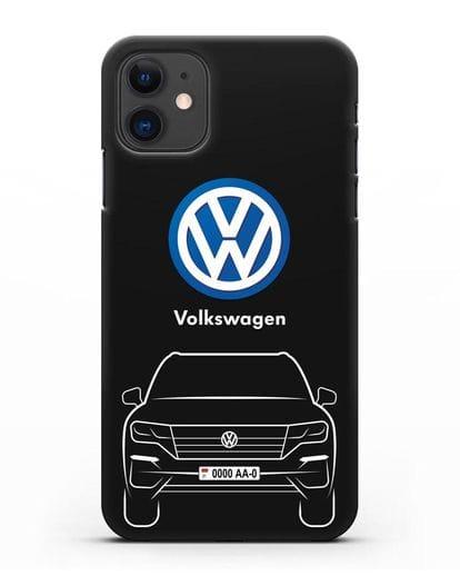 Чехол Volkswagen Touareg с автомобильным номером силикон черный для iPhone 11