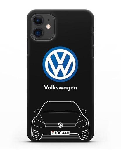 Чехол Volkswagen Golf с автомобильным номером силикон черный для iPhone 11