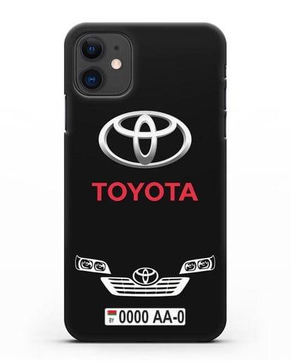 Чехол Toyota с автомобильным номером силикон черный для iPhone 11