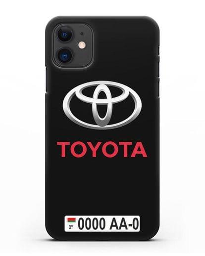 Чехол Тойота с номерным знаком силикон черный для iPhone 11