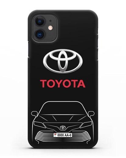 Чехол Toyota Camry с автомобильным номером силикон черный для iPhone 11