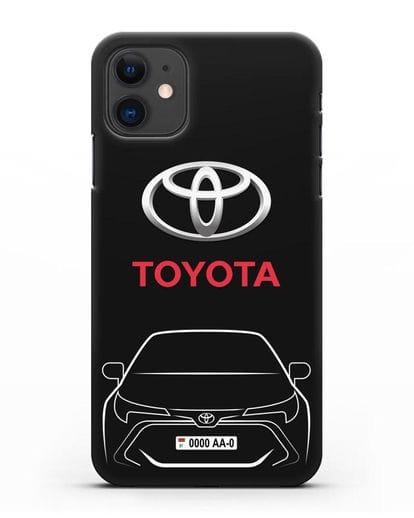 Чехол Toyota Corolla с автомобильным номером силикон черный для iPhone 11