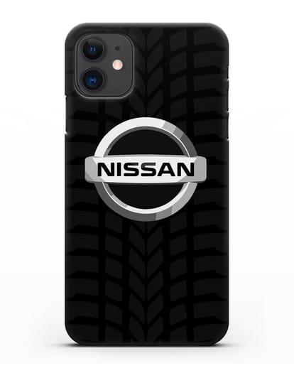 Чехол с логотипом Nissan с протектором шин силикон черный для iPhone 11