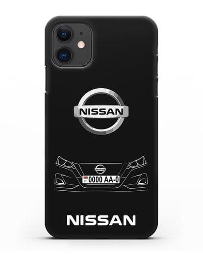Чехол Nissan с автомобильным номером силикон черный для iPhone 11