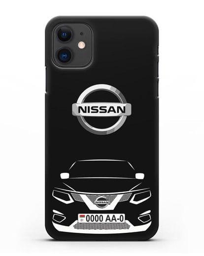 Чехол Nissan с номерным знаком силикон черный для iPhone 11