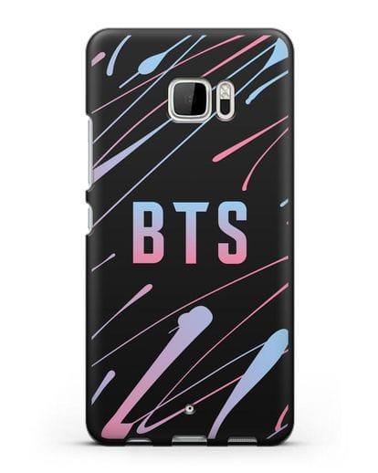 Чехол с надписью BTS силикон черный для HTC U Ultra