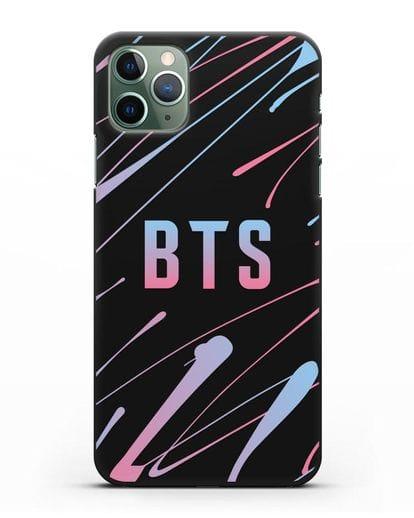 Чехол с надписью BTS силикон черный для iPhone 11 Pro