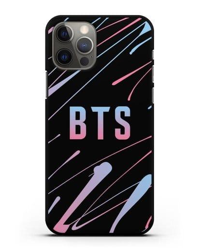 Чехол с надписью BTS силикон черный для iPhone 12 Pro