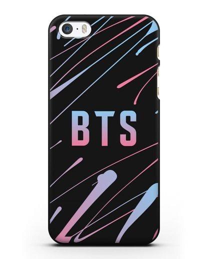 Чехол с надписью BTS силикон черный для iPhone 5/5s/SE