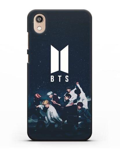 Чехол с изображением солистов группы BTS силикон черный для Honor 8S