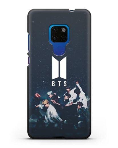 Чехол с изображением солистов группы BTS силикон черный для Huawei Mate 20