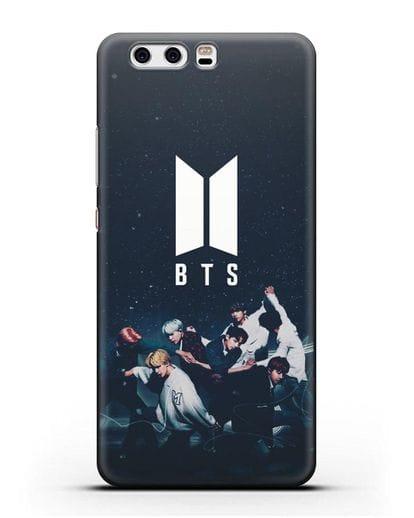 Чехол с изображением солистов группы BTS силикон черный для Huawei P10 Plus