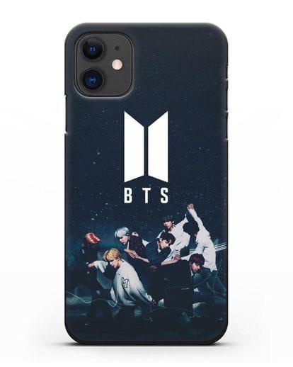 Чехол с изображением солистов группы BTS силикон черный для iPhone 11