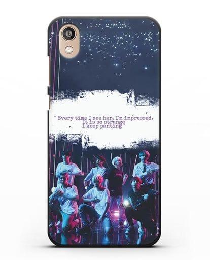Чехол с фотографией группы BTS силикон черный для Honor 8S