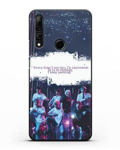Чехол с фотографией группы BTS силикон черный для Honor 9X