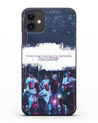 Чехол с фотографией группы BTS силикон черный для iPhone 11