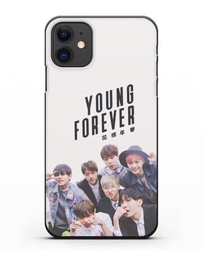 Чехол с картинкой BTS. Young Forever силикон черный для iPhone 11