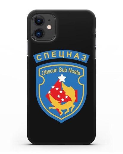 Чехол с надписью Спецназ и шевроном 5-я ОБрСпН синий цвет силикон черный для iPhone 11