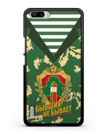 Чехол Камуфляж, тельняшка с гербом Пограничных войск РБ силикон черный для Honor 6 Plus