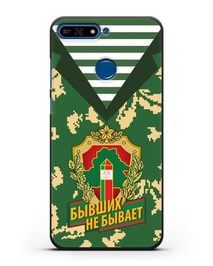 Чехол Камуфляж, тельняшка с гербом Пограничных войск РБ силикон черный для Honor 7А Pro