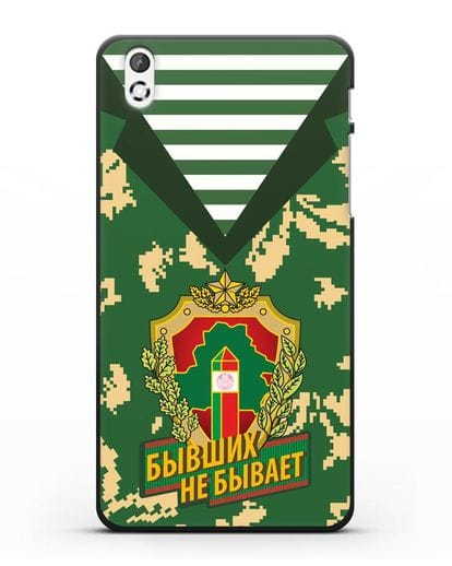 Чехол Камуфляж, тельняшка с гербом Пограничных войск РБ силикон черный для HTC Desire 816