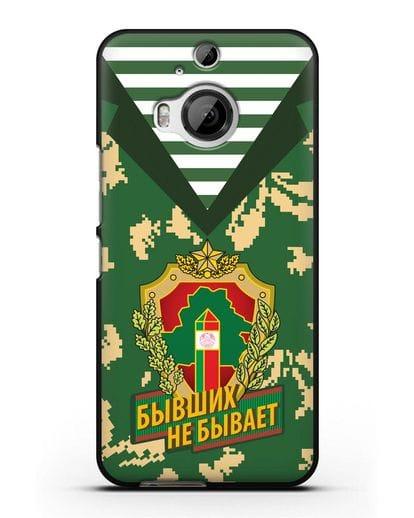 Чехол Камуфляж, тельняшка с гербом Пограничных войск РБ силикон черный для HTC One M9 Plus
