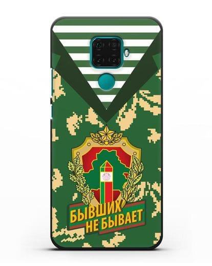 Чехол Камуфляж, тельняшка с гербом Пограничных войск РБ силикон черный для Huawei Mate 30 Lite