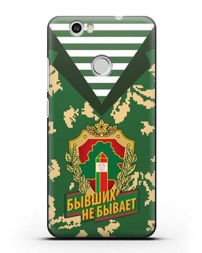 Чехол Камуфляж, тельняшка с гербом Пограничных войск РБ силикон черный для Huawei Nova