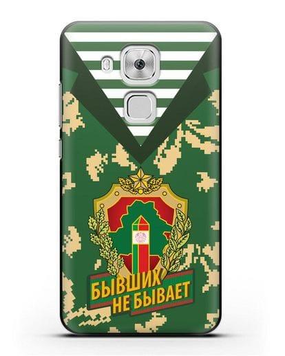 Чехол Камуфляж, тельняшка с гербом Пограничных войск РБ силикон черный для Huawei Nova Plus