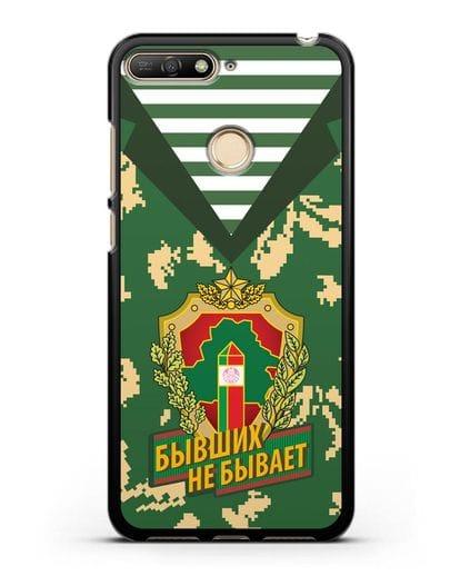 Чехол Камуфляж, тельняшка с гербом Пограничных войск РБ силикон черный для Huawei Y6 Prime 2018