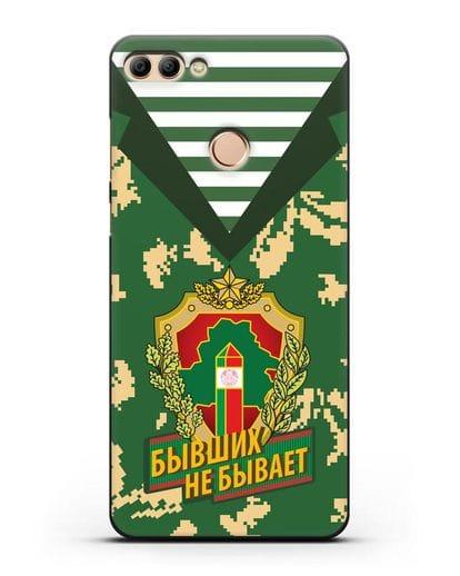 Чехол Камуфляж, тельняшка с гербом Пограничных войск РБ силикон черный для Huawei Y9 2018