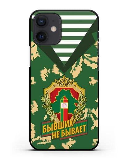 Чехол Камуфляж, тельняшка с гербом Пограничных войск РБ силикон черный для iPhone 12 mini