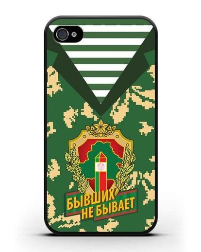Чехол Камуфляж, тельняшка с гербом Пограничных войск РБ силикон черный для iPhone 4/4s