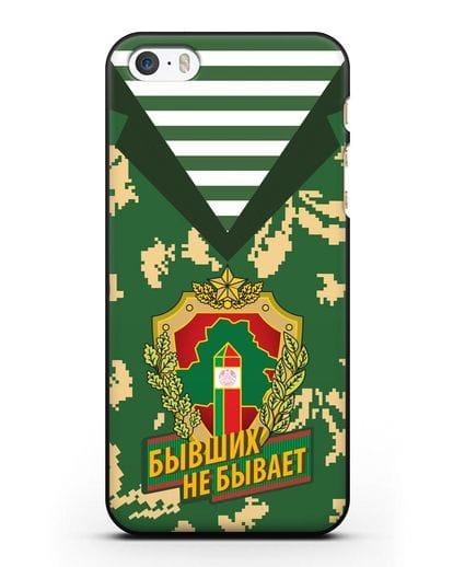 Чехол Камуфляж, тельняшка с гербом Пограничных войск РБ силикон черный для iPhone 5/5s/SE